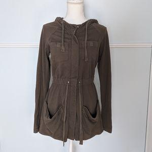Anthropologie olive knit military Utility Jacket S